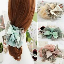 Women Girl Elastic Hair Tie Band Rope Lace Bow Ponytail Holder Wedding Scrunchie