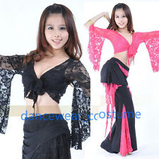 New Ladies Belly Dance Costume Top Bolero Flared Sleeves Blouse Dance Dress Lace