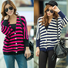 Fluffy Striped V Neck Batwing Sleeve Womens Cardigan Sweater Jumper Knitwear Top