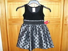 HOLIDAY EDITIONS BLACK OR RED POLKA DOT GIRL'S VELOUR DRESS SIZE XS - 4/5 *NWT*