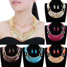 Fashion Gold Chain Resin Chunky Choker Statement Pendant Bib Necklace Earrings