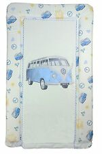 Waterproof Baby Changing Mat RETRO VW Campervan BLUE Padded & raised sides