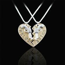 Thelma Louise Bonnie Clyde Heart Gun Pendant Chain Necklace Lover Gift Fashion