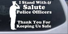 Stand w Salute Police Officers Pro Police Car Truck Laptop Decal Sticker 6X4.2