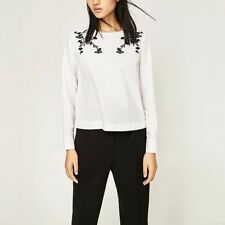 New Womens Floral Embroidered Long Sleeve White Pullover Blouse Tops Shirt