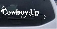 Cowboy Up With Hat Car or Truck Window Laptop Decal Sticker 10X2.9