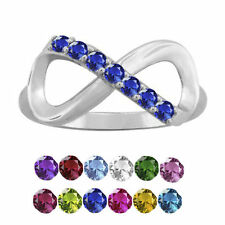 10K White Gold Round-Cut 7-Stone Infinity Mothers Ring