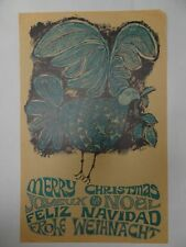 Christmas Poster Blue Dove of Peace 1960s