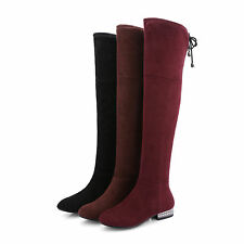 UK Sizes Faux Suede Low Heel Knee High Tall Boots Zip Block Boot Shoes H1069