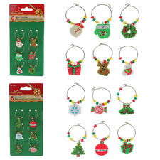 6x Mixed Xmas Rubber Pendants Wine Glass Charms Alloy Marker Rings Table Décor