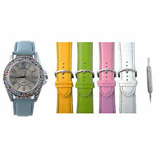 Womens Designer Inspired Interchangeable Watch Set 2 Row Multicolored Crystal Be
