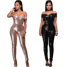 Sexy Womens Sequins Bodycon Boat Neck Jumpsuit Romper Cocktail Playsuit Pants
