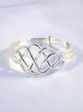 4 Band Turkish Interlocking Puzzle Ring .925 Sterling Silver - Open Weave Style