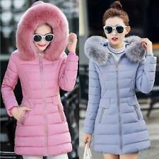 Stylish Womens Fur Hooded Winter Coat Down jackets Parka Jacket Long Outerwear
