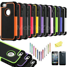 Hybrid Shockproof Rugged Rubber Hard Soft Cover Case Skin for Apple iPhone 5 5S