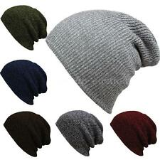 Mens Ladies Knitted Woolly Winter Oversized Slouch Beanie Hat Cap Unisex F4S6