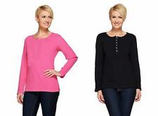 NEW QUACKER FACTORY Waffle Knit Henley Long Sleeve Top Many Colors 240785RM