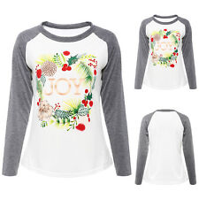 Womens Blouse Floral Letter Long Sleeve Ladies Top T Shirt Loose Casual Tops EW