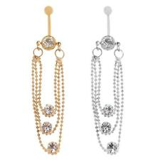 Stylish Crystal Tassels Dangle Navel Belly Button Ring Body Piercing Jewellery