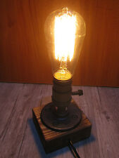 Vintage Industrial Retro Style Wooden Base Single Socket Table Bedside Desk Lamp