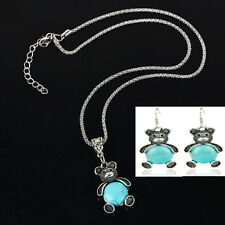 Retro Blue Turquoise Bear Pendant Chain Necklace Earrings Silver Jewelry Set mx