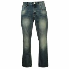 Lee Cooper Mens Bootcut Jeans Smart Distressed Trousers Casual Pants Bottoms