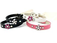 Dog Puppy Collar - Rhinestone Flower - Mirage - Made In USA - Any Size & Color