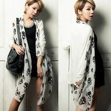 Personalized Skull Womens Long Sleeve Chiffon Splicing Cardigan Style Top 6691