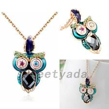 Cute Owl Crystal Rhinestone Gold Plated Chain Statement Choker Necklace Pendant