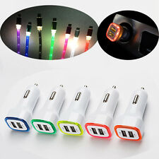 LED Light 2 Port USB Car Charger Adapter+Cable For Samsung Android Phone Lot