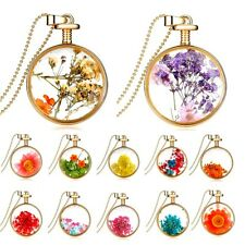 Gold Plated Real Dried Flowers Glass Floating Locket Pendant Bead Chain Necklace