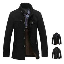 New Mens Wool Blend Jacket Peacoats Warm Trench Coat Reefer Jacket Overcoat ##
