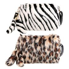 Women Ladies Stylish Faux Fur Animal Pattern Shoulder Bag Corss Body Bag Purse