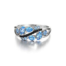 Elegant  Natural Black Spinel Swiss Blue Topaz Ring 925 Sterling Silver Jewelry