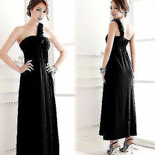 Trendy Lady Strapless Ruffles Asymmetric One Shoulder Full Length Long Dress