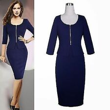 Rockabilly OL 3/4 Sleeve Peplum Women's Formal Party Bodycon Wiggle Pencil Dress