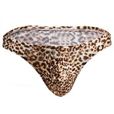Sexy Men's Leopard Print Trunks Underwear Bulge Pouch Thong G-string Lingerie