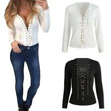 Womens Deep V Neck Tops Loose Casual Long Sleeve Lace-up Blouse T-Shirt W8Z6