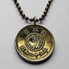 Japan 5 yen coin pendant Japanese necklace Pigeon bird dove Nippon Tokyo n000161