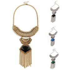 Charming Jewelry Retro Long Chain Tassels Crystal Pendant Statement Necklace