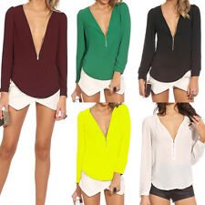 Womens Chiffon V-neck Tops Tee Long Sleeves Shirts Casual Blouse Loose T-shirt