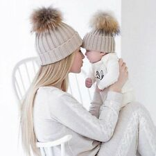 Lovely Kids Baby Boys Girls Mom Hat Set Knitted Winter Warm Hats Soft Beanie Cap