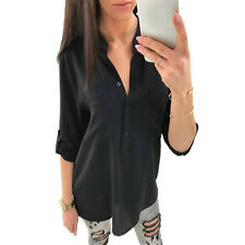 Sexy Womens Long Sleeve Lace Patchwork Blouse Shirt V Neck Loose Tops Irregular