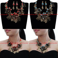 Vintage Jewelry Chain Acrylic Flower Charm Choker Statement Pendant Bib Necklace