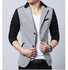 Mens Splice Color Lapel Collar Short Jacket Slim Fit Korean Casual Blazer Jacket