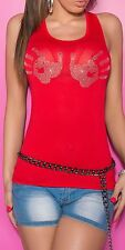 New Sexy Basic Straps Top Shirt Tank Top T-Shirt Leisure Strass Ladies !TMH002