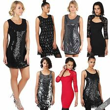 Womens Vintage Glamour Sequin Party Bodycon Dresses Ladies Sexy Cocktail Gown