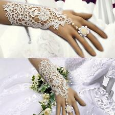 White/Black Lace Bride Gloves Wedding Prom Party Costume Long Gloves Fingerless