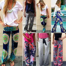 Summer Womens Floral Loose Beach Boho Trousers Straight Leg Palazzo Long Pants