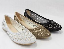 Women Ballet Flat Party Glitter Shoes Fashion Flower Design Brilliant Cute Style